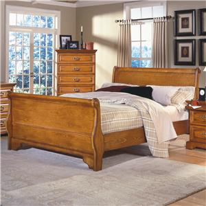 Queen Oak Sleigh Bed