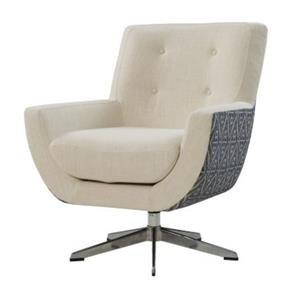 Astoria Fabric Swivel Accent Chair, Aspen Cream/ Azure Diamond