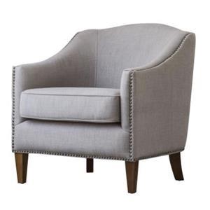 Baxton KD Fabric Nailhead Chair, Putty