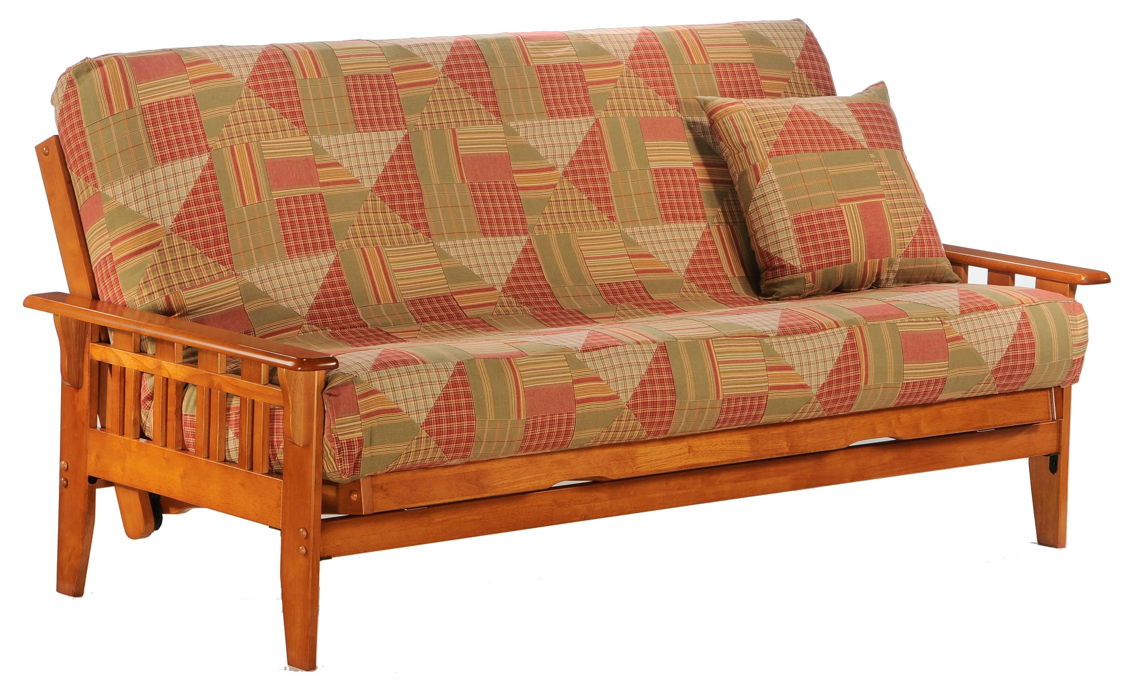 Kingston Honey Oak Chair Size Futon by Night & Day Furniture at Furniture and ApplianceMart