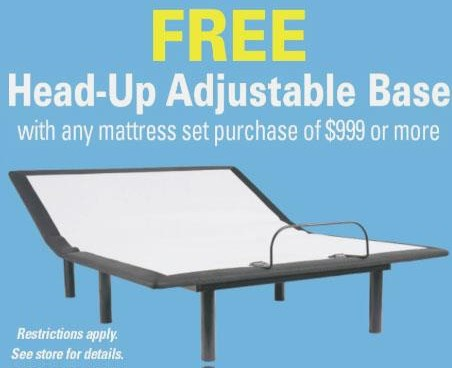 Free Foundation Promotion Head-Up Adjustable Base at A1 Furniture & Mattress