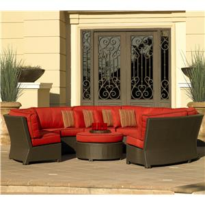 8pc Armless Curved Sectional w/Cushions