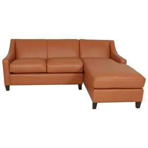 Contemporary Sofa Chaise with Sloping Track Arms
