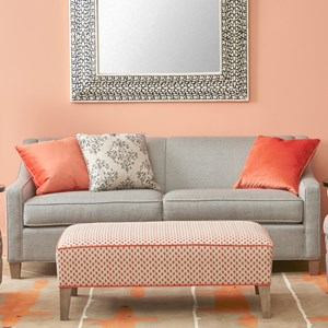 Contemporary Stationary Sofa with Track Arms and Welted Seat Cushions