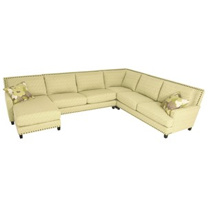Sectional Sofa with Chaise and Optional Nail Head Trim