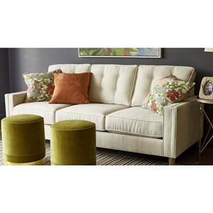 Customizable 87 Inches Long Sofa with Tufted Back