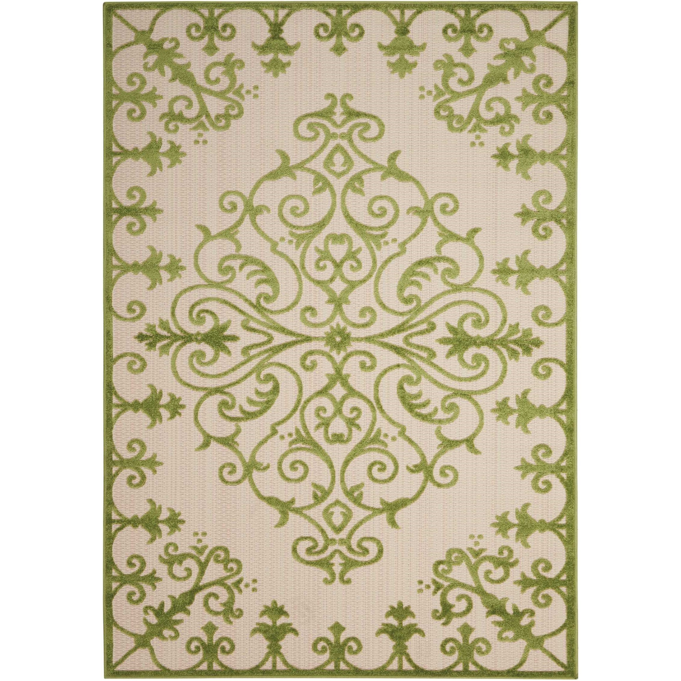 """Aloha 5'3"""" x 7'5"""" Green Rectangle Rug by Nourison at Sprintz Furniture"""