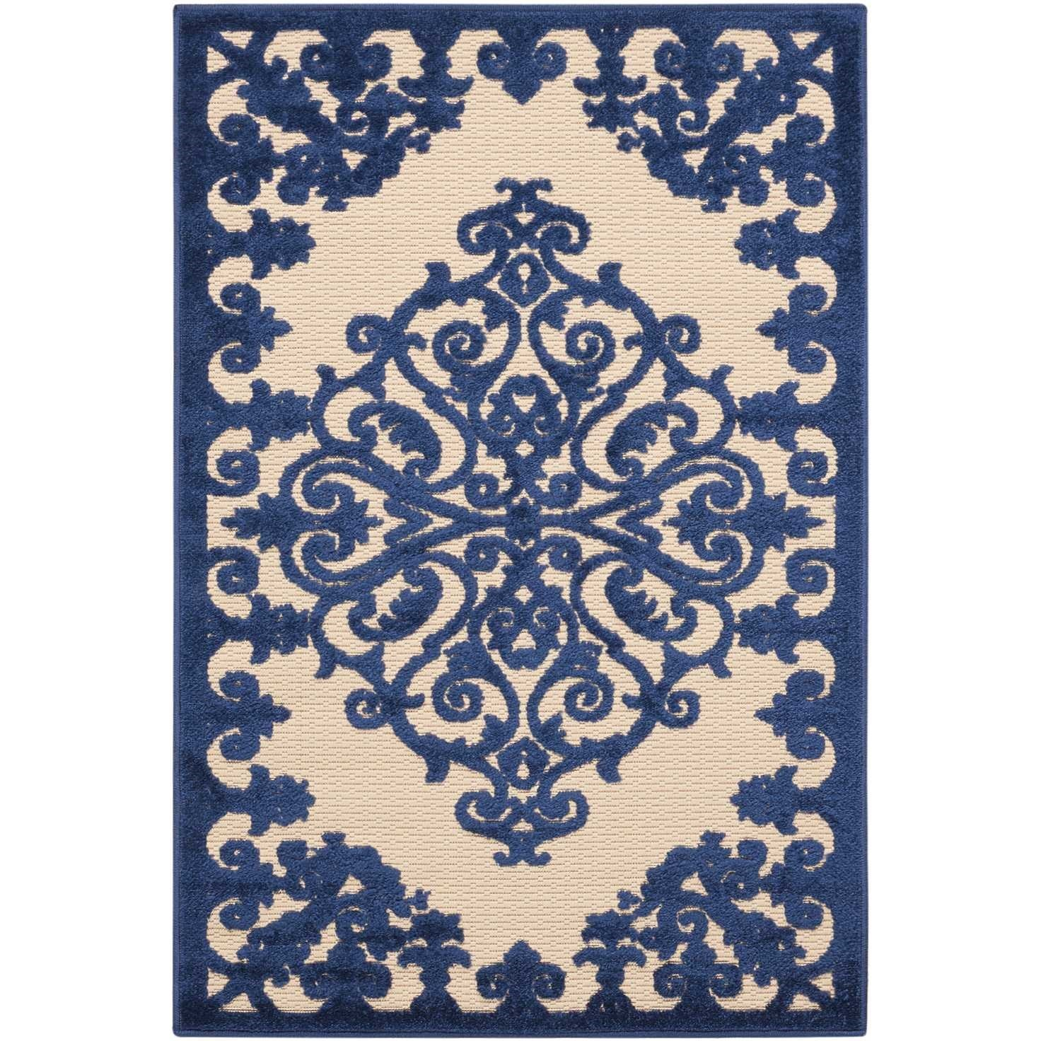 "Aloha 2'8"" x 4' Navy Rectangle Rug by Nourison at Home Collections Furniture"
