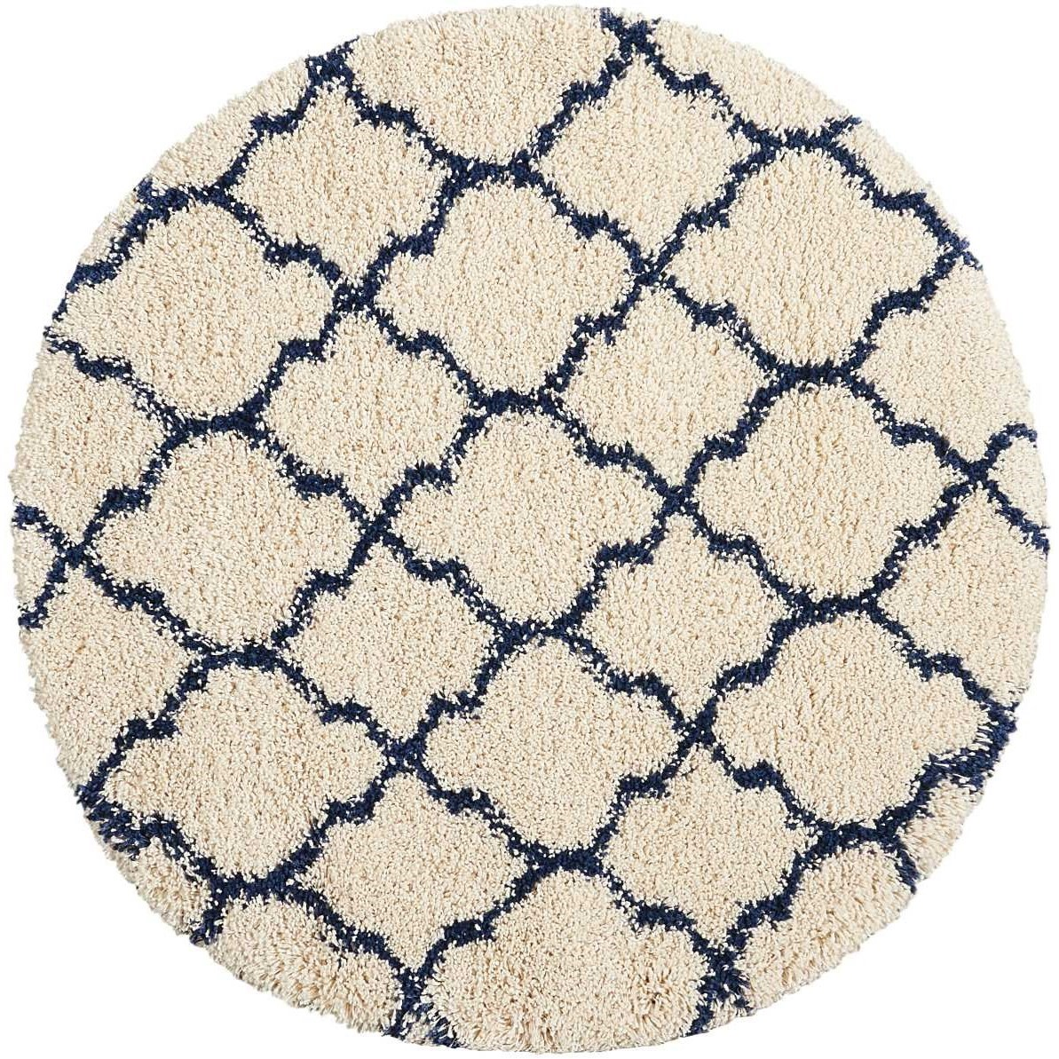 Amore Amore AMOR2 Blue and Ivory 4' Round Area Rug by Nourison at Home Collections Furniture