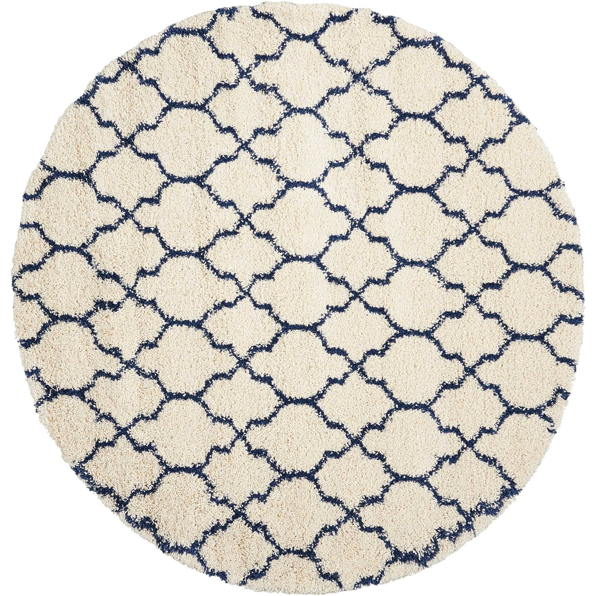 Amore Amore AMOR2 Blue and Ivory 7' Round   Rug by Nourison at Home Collections Furniture