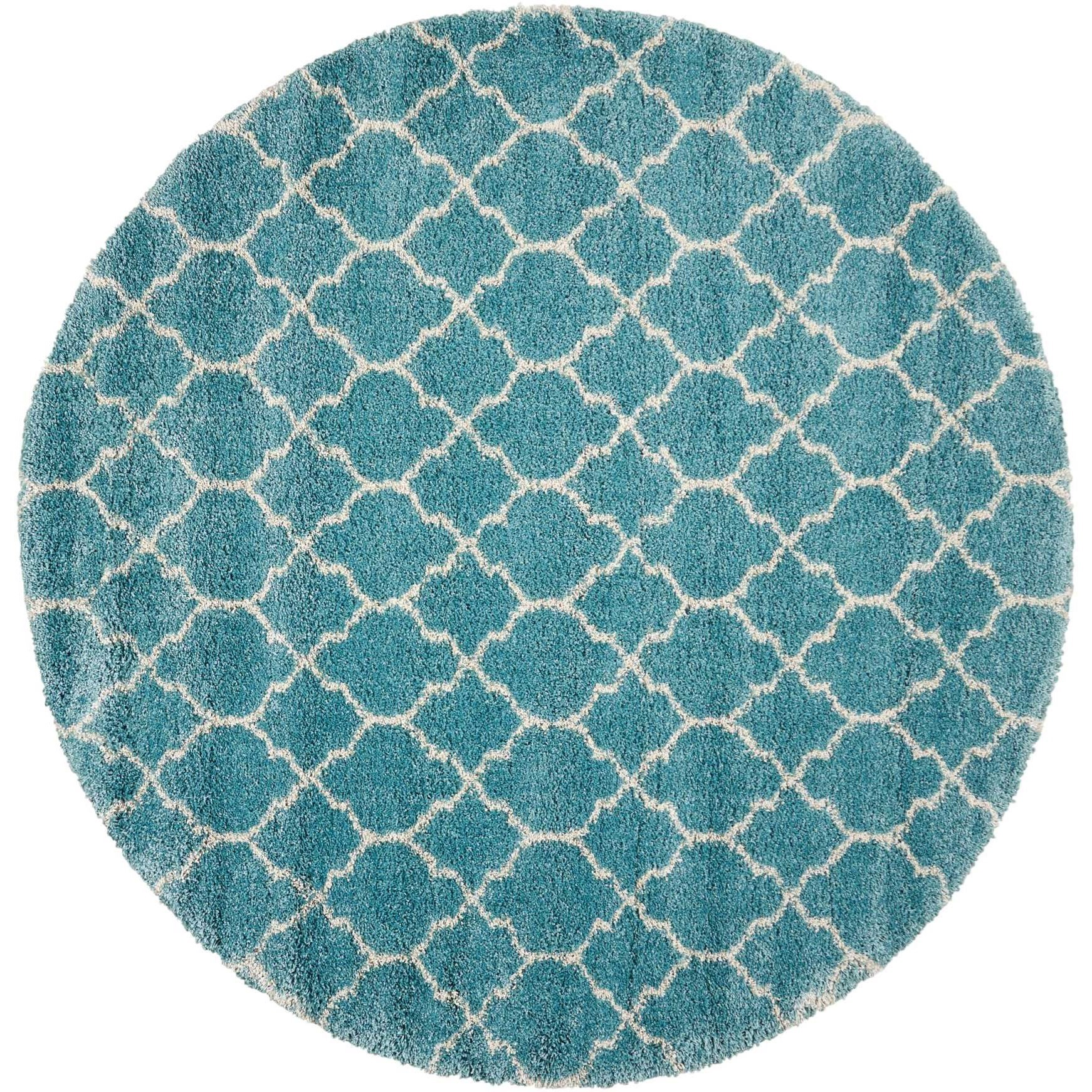 """Amore 6'7"""" x 6'7"""" Aqua Round Rug by Nourison at Home Collections Furniture"""