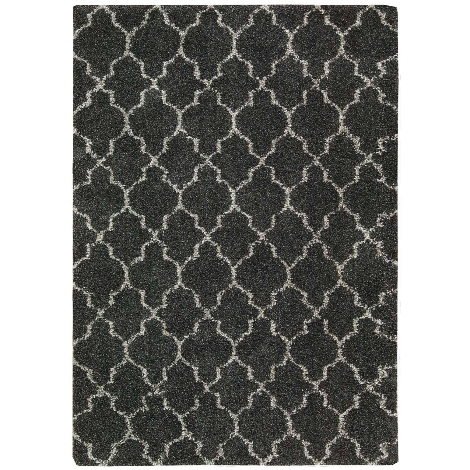 """Amore 6'7"""" x 9'6"""" Charcoal Rectangle Rug by Nourison at Home Collections Furniture"""