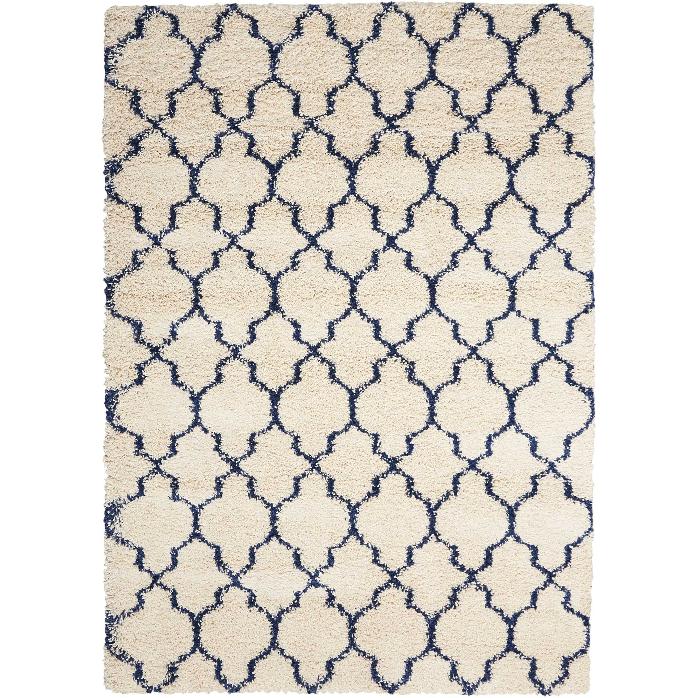 """Amore 6'7"""" x 9'6"""" Ivory/Blue Rectangle Rug by Nourison at Home Collections Furniture"""