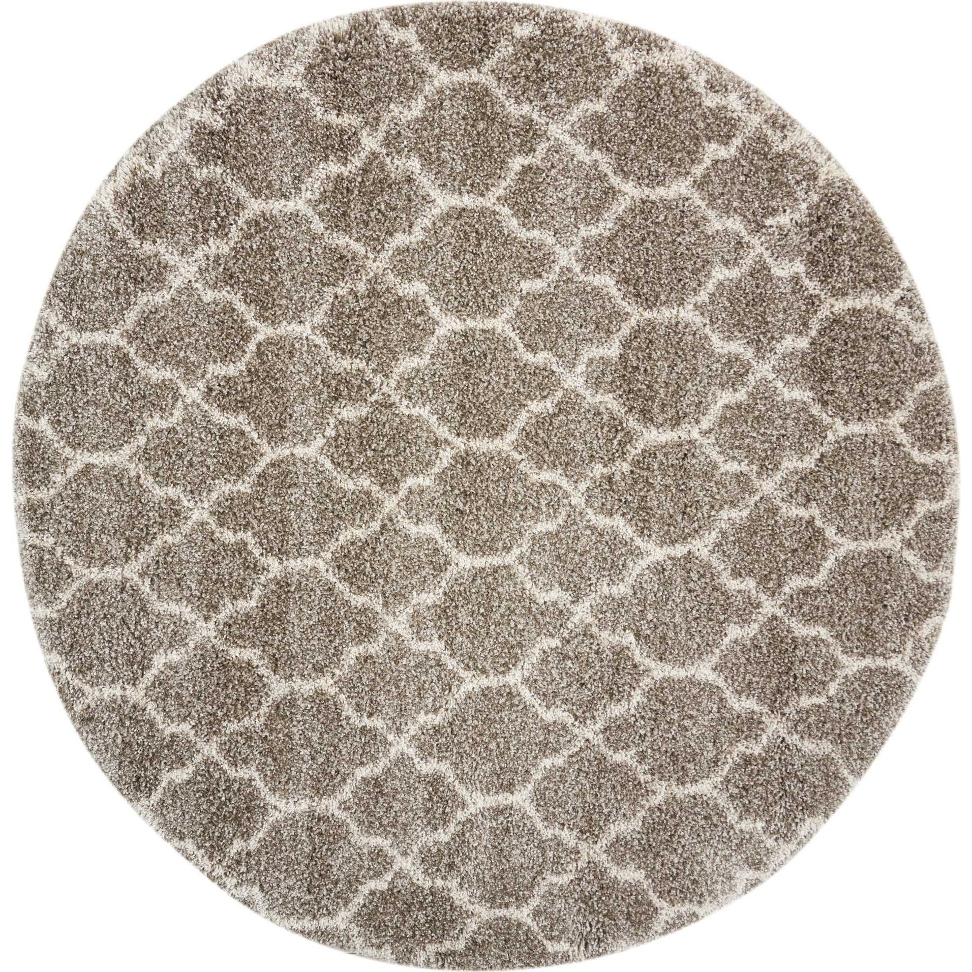 """Amore 6'7"""" x 6'7"""" Stone Round Rug by Nourison at Sprintz Furniture"""
