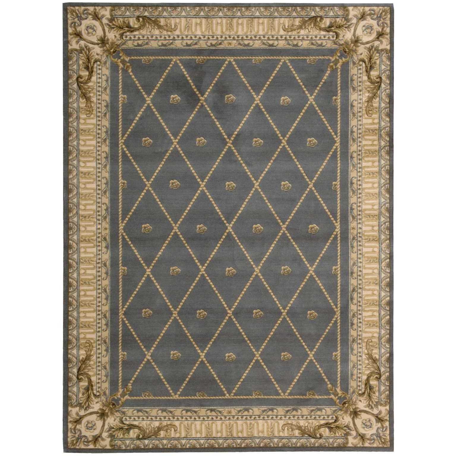 "Ashton House 5'6"" x 7'5"" Blue Rectangle Rug by Nourison at Home Collections Furniture"