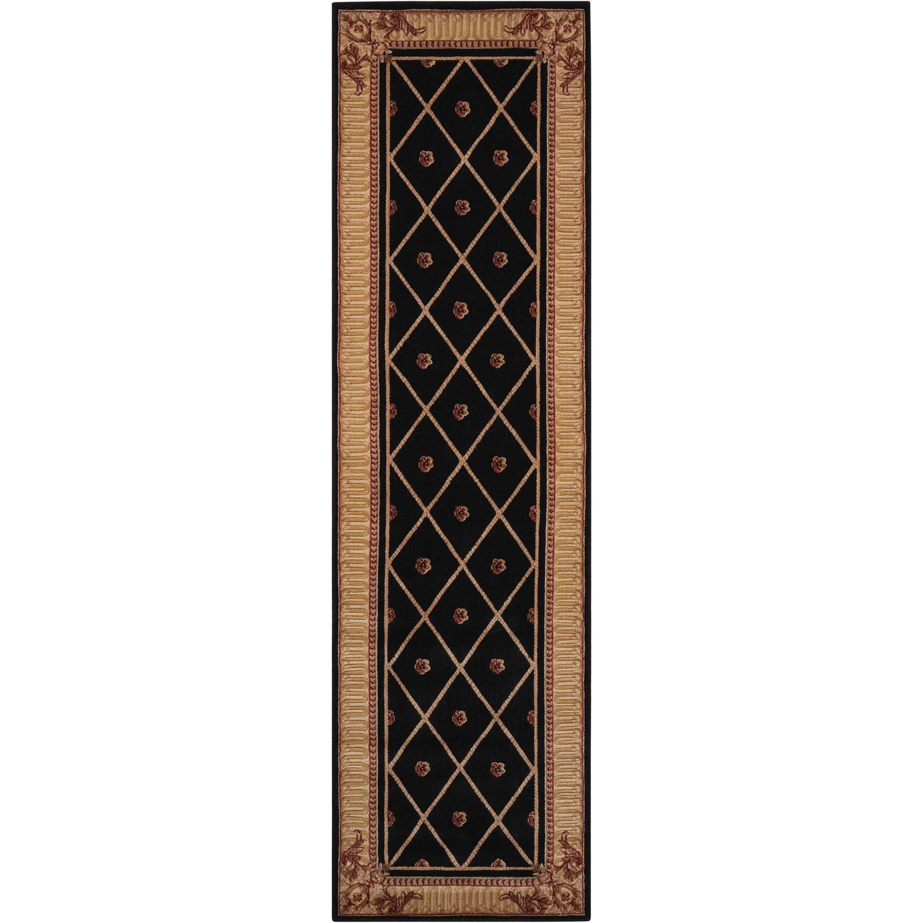 """Ashton House 2' x 5'9"""" Black Runner Rug by Nourison at Home Collections Furniture"""