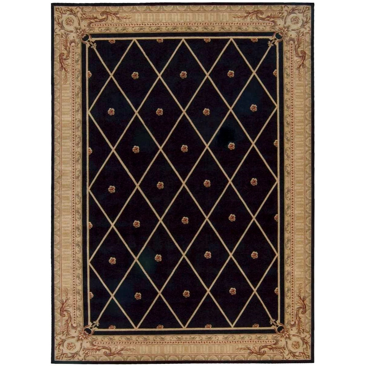 "Ashton House 9'6"" x 13' Black Rectangle Rug by Nourison at Home Collections Furniture"