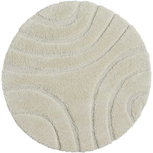 4' X 4' White Round Rug
