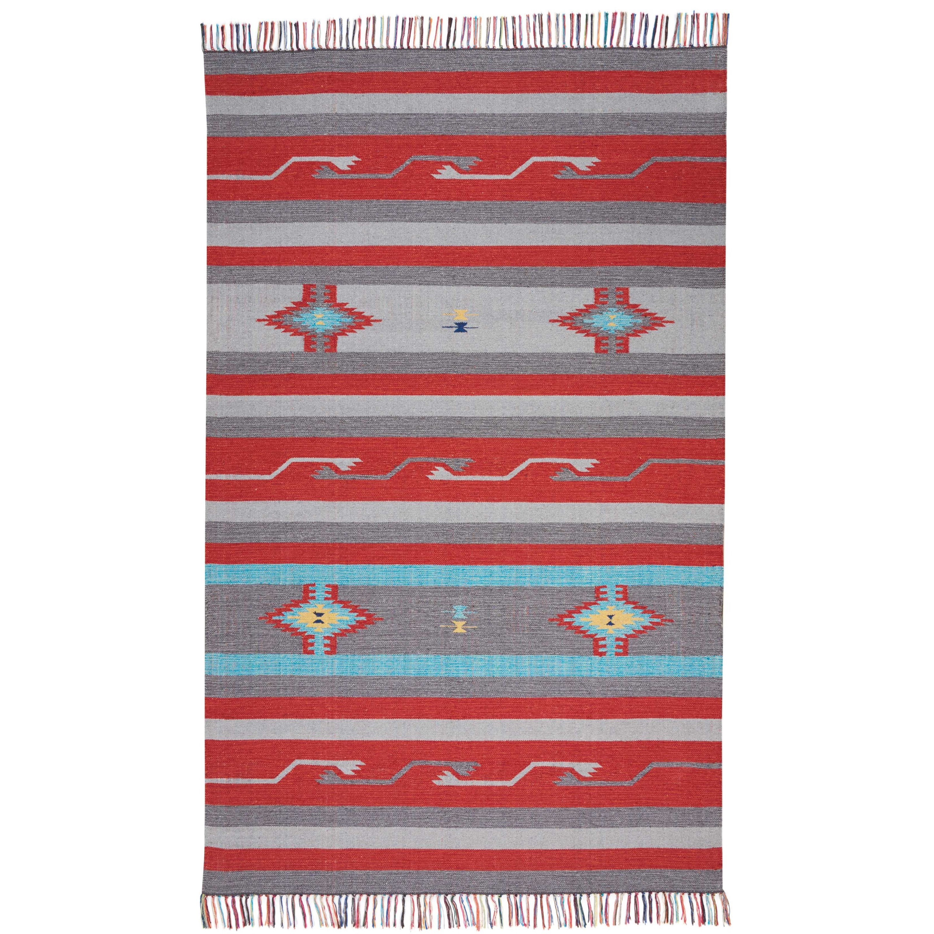 """Baja 3'6"""" X 5'6"""" Gry/Red Rug by Nourison at Sprintz Furniture"""