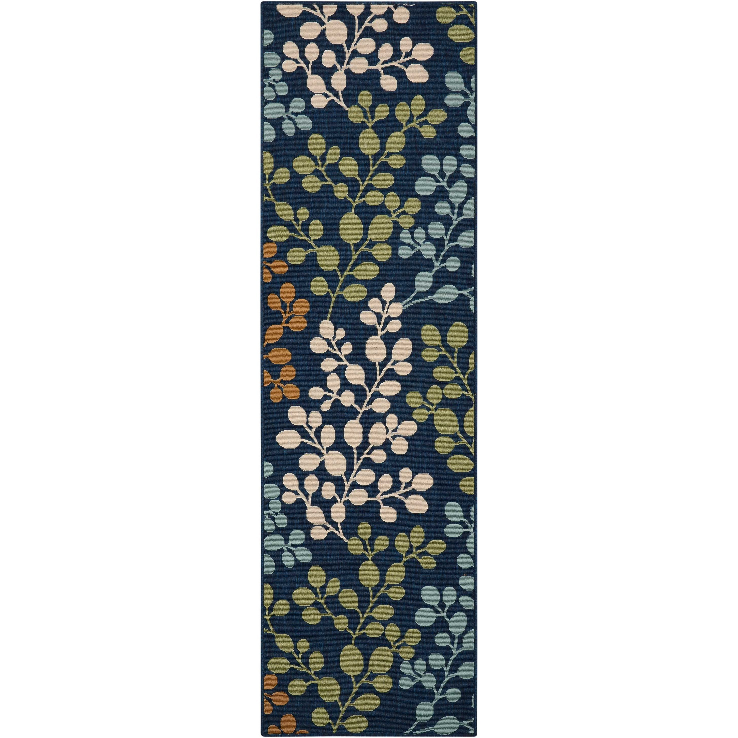"Caribbean 2'3"" x 7'6"" Navy Runner Rug by Nourison at Home Collections Furniture"