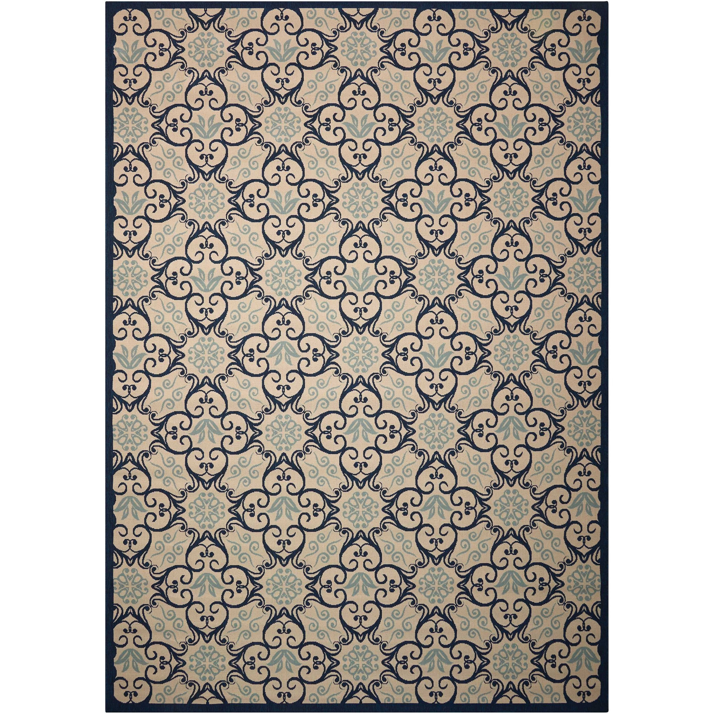 "Caribbean 9'3"" x 12'9"" Ivory/Navy Rectangle Rug by Nourison at Adcock Furniture"