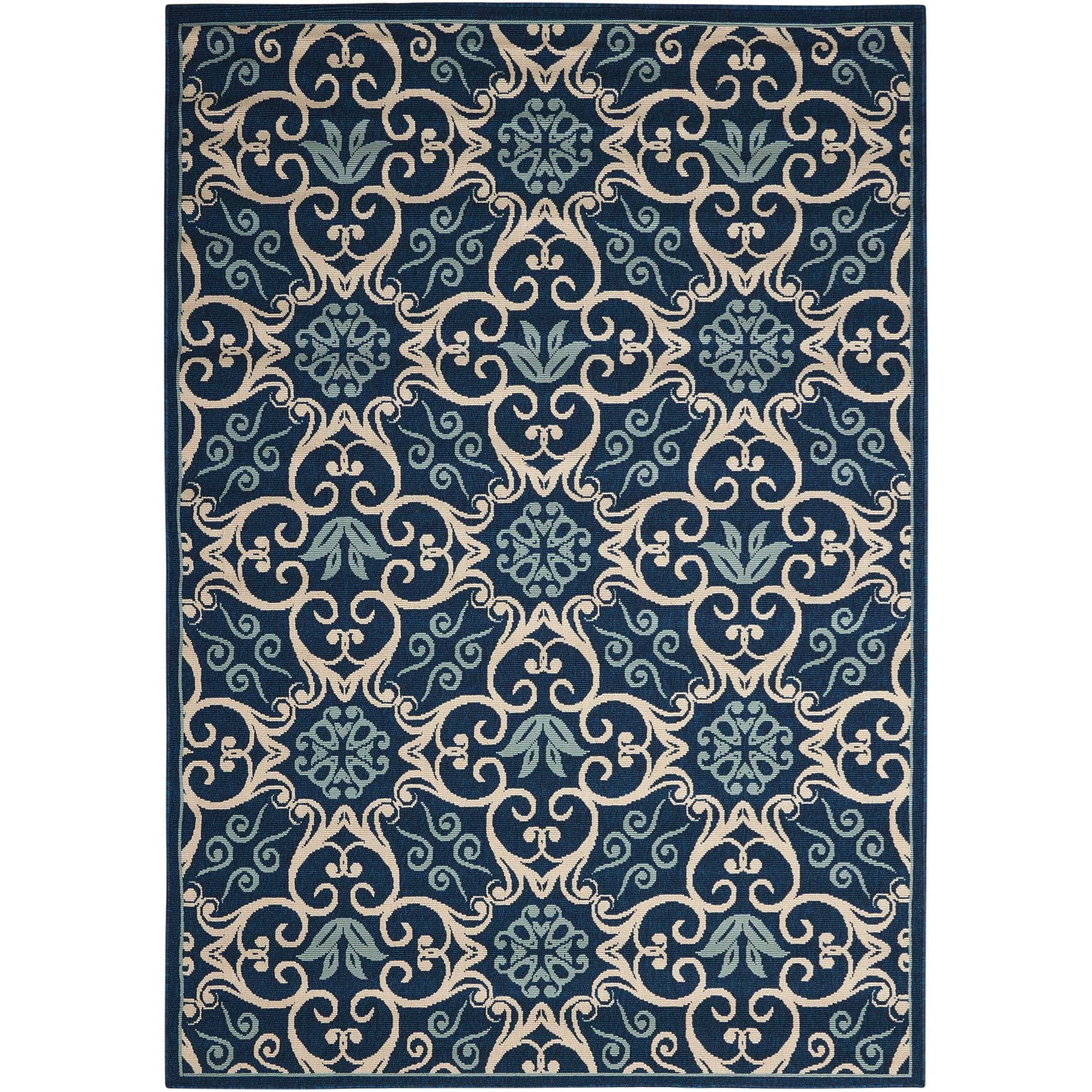 "Caribbean 5'3"" x 7'5"" Navy Rectangle Rug by Nourison at Home Collections Furniture"