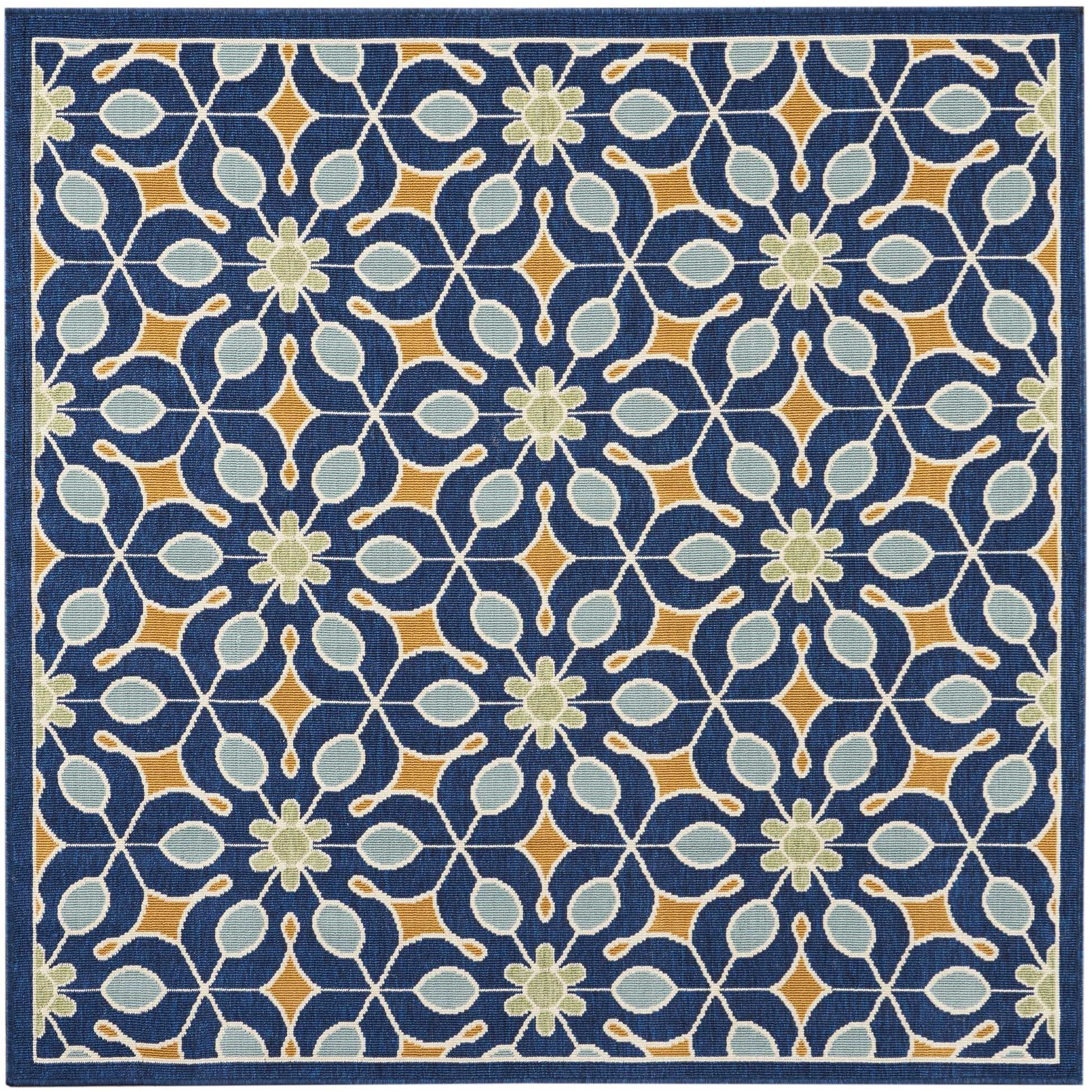 "Caribbean 5'3"" x 5'3"" Navy Rug by Nourison at Home Collections Furniture"