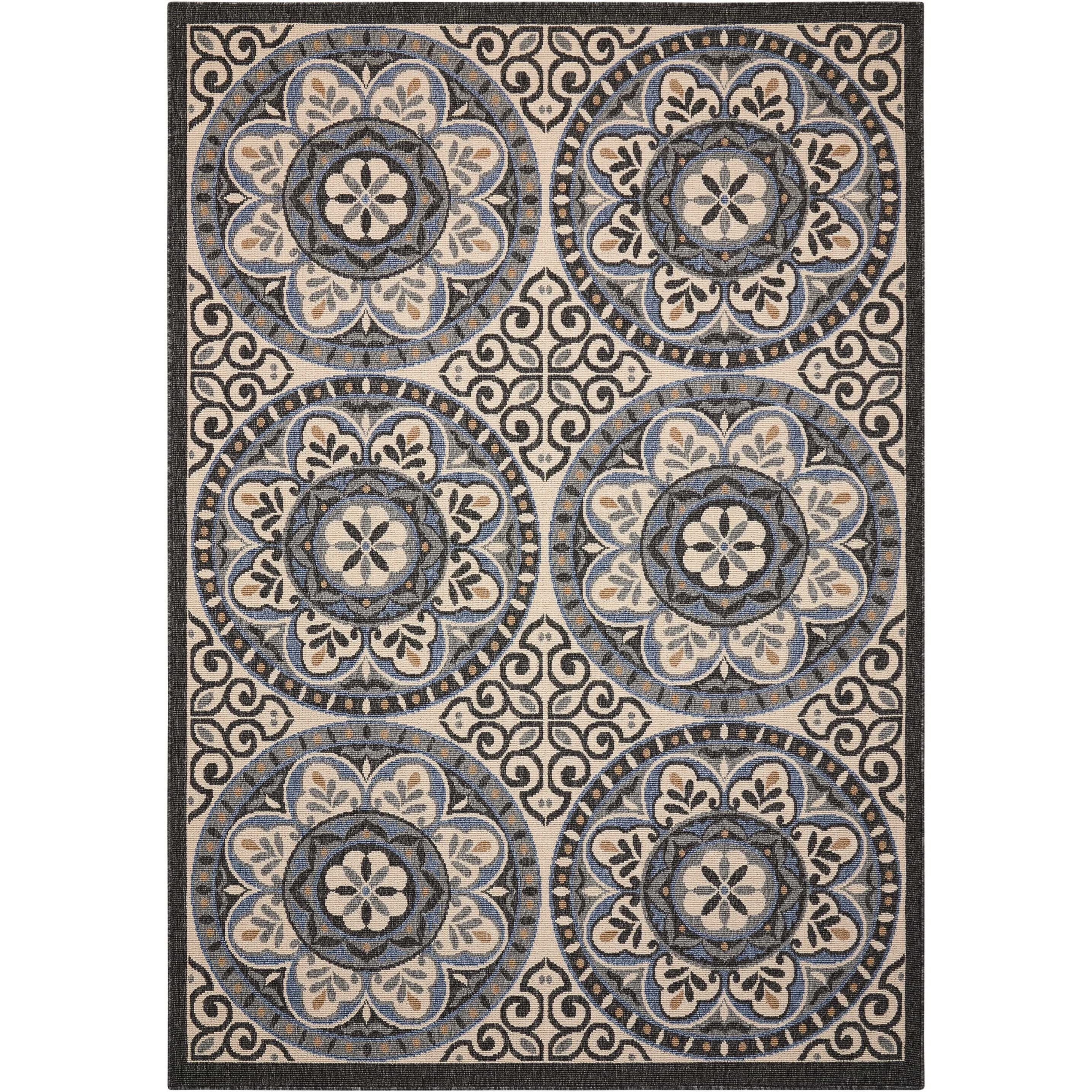 "Caribbean 1'9"" X 2'9"" Ivory/Charcoal Rug by Nourison at Home Collections Furniture"
