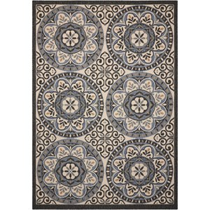 "7'10"" X 10'6"" Ivory/Charcoal Rectangle Rug"