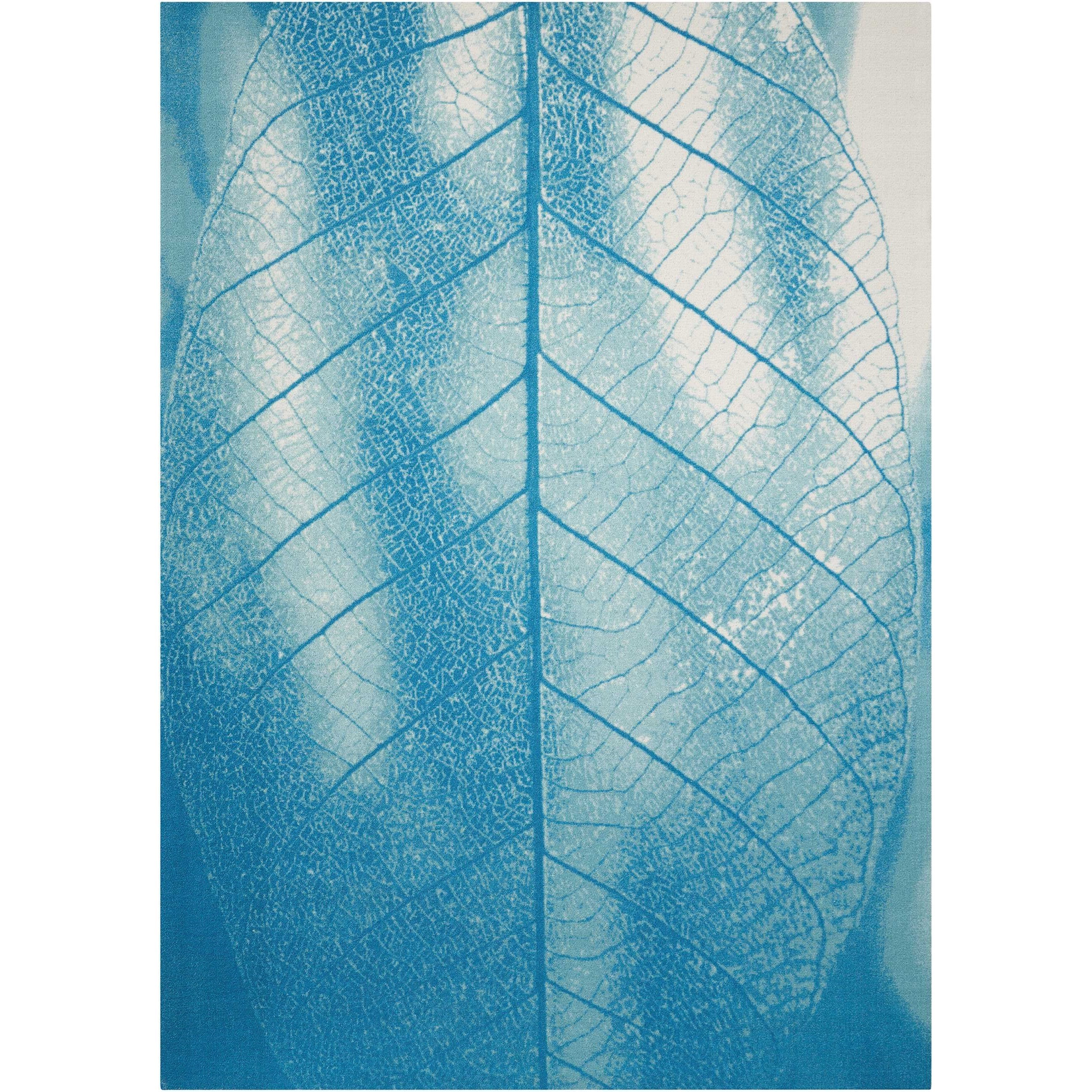 """Coastal 5'3"""" X 7'5"""" Aqua Rug by Nourison at Home Collections Furniture"""