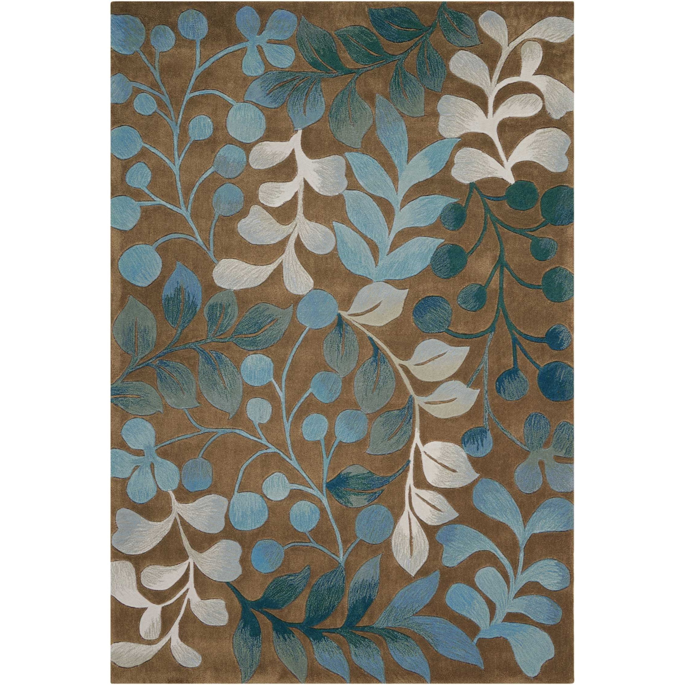 """Contour 5' x 7'6"""" Mocha Rectangle Rug by Nourison at Home Collections Furniture"""