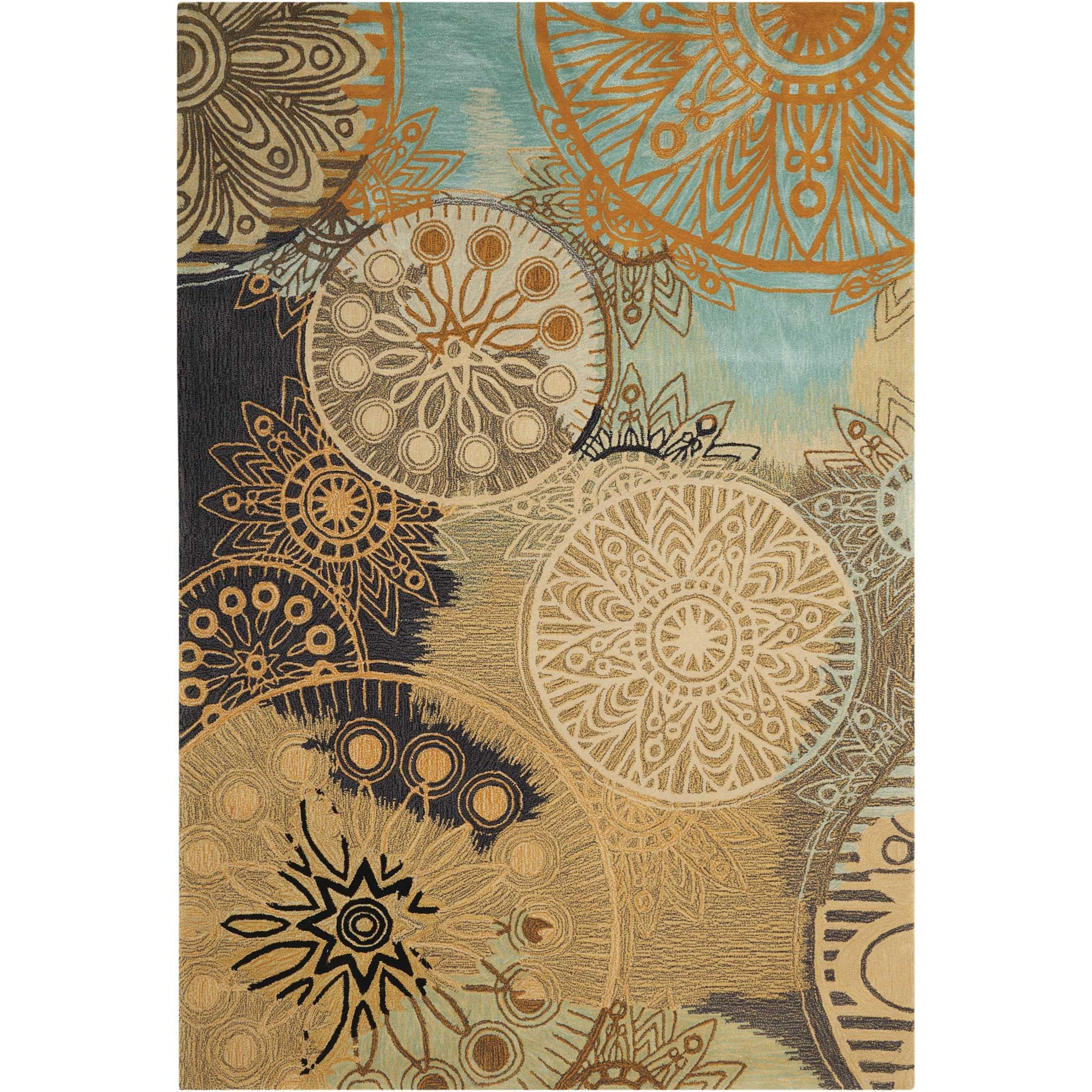 """Contour 3'6"""" x 5'6"""" Multicolor Rectangle Rug by Nourison at Home Collections Furniture"""