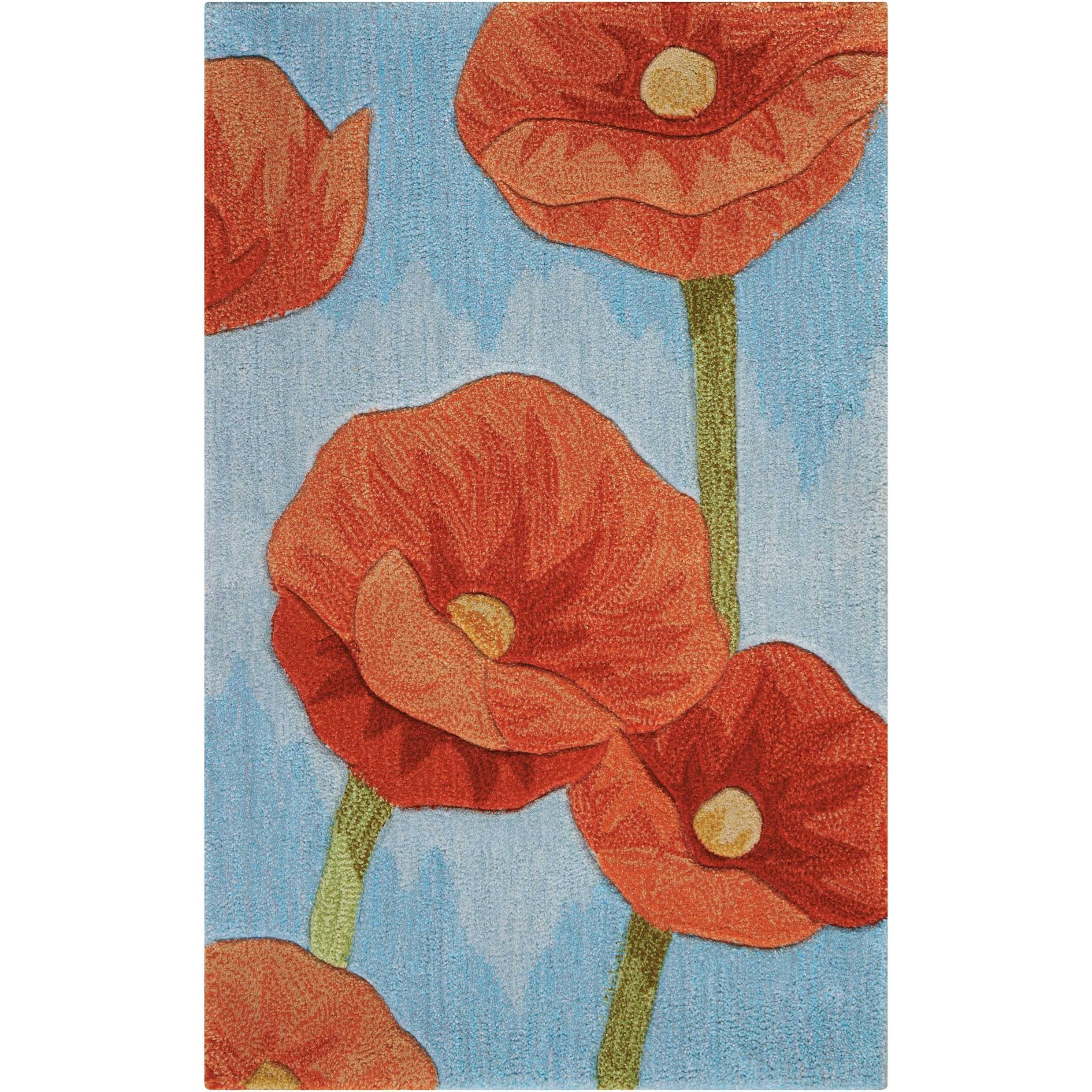 """Contour 1'9"""" x 2'9"""" Blue Rectangle Rug by Nourison at Home Collections Furniture"""