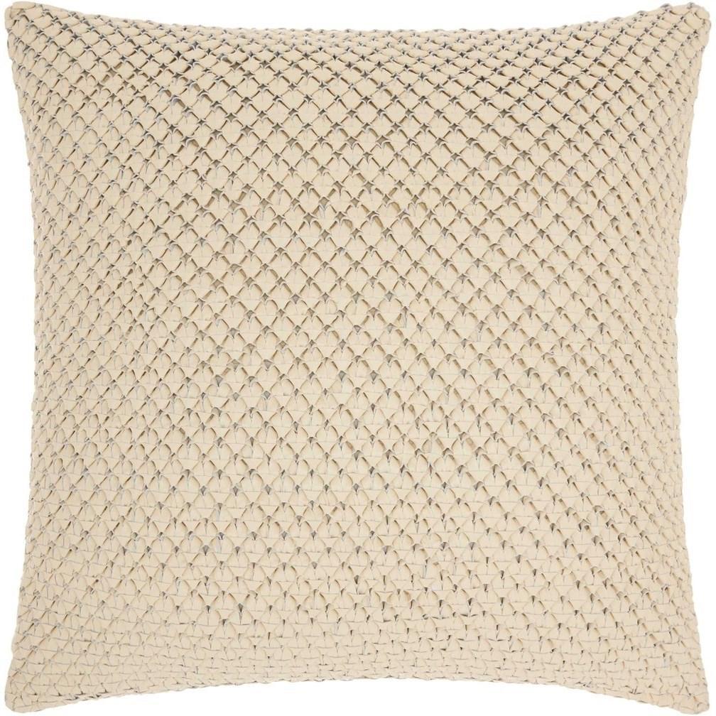 """Couture Nat Hide PD280 White 20"""" x 20"""" Throw Pillow by Nourison at Miller Waldrop Furniture and Decor"""