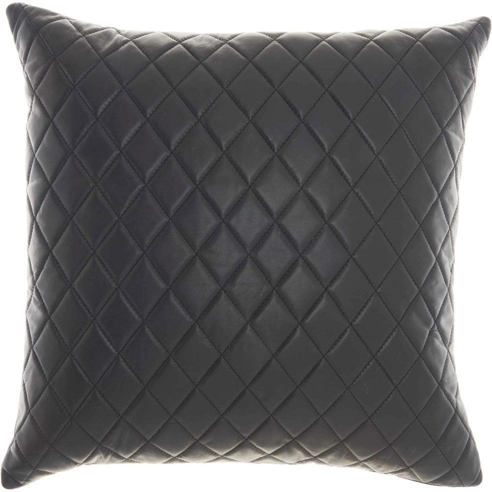 """Couture Nat Hide PD031 Black 20"""" x 20"""" Throw Pillow by Nourison at Miller Waldrop Furniture and Decor"""