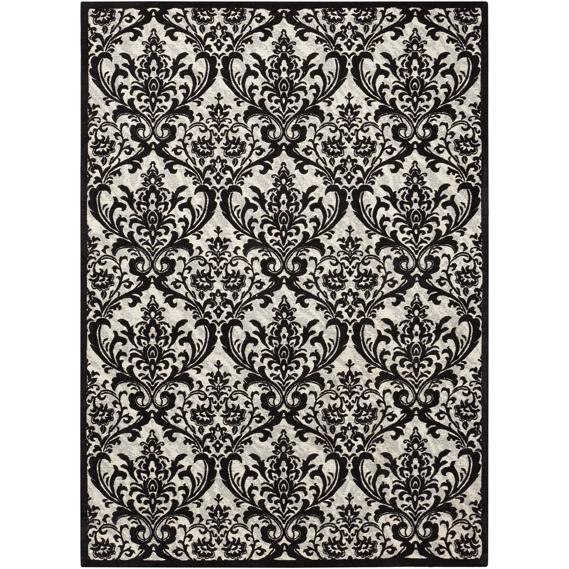Damask 5' X 7' Black/White Rug by Nourison at Home Collections Furniture