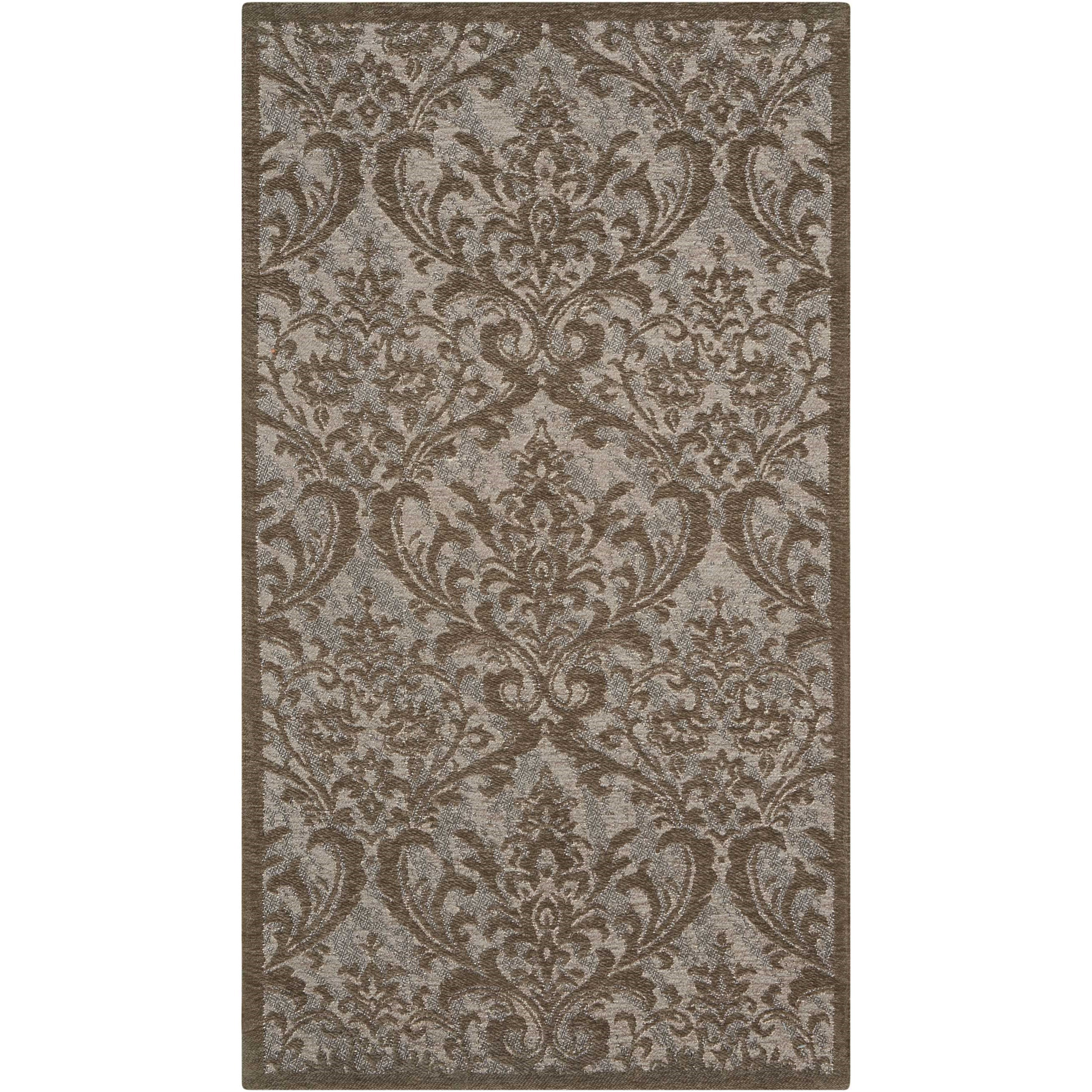 "Damask 2'3"" X 3'9"" Grey Rug by Nourison at Home Collections Furniture"