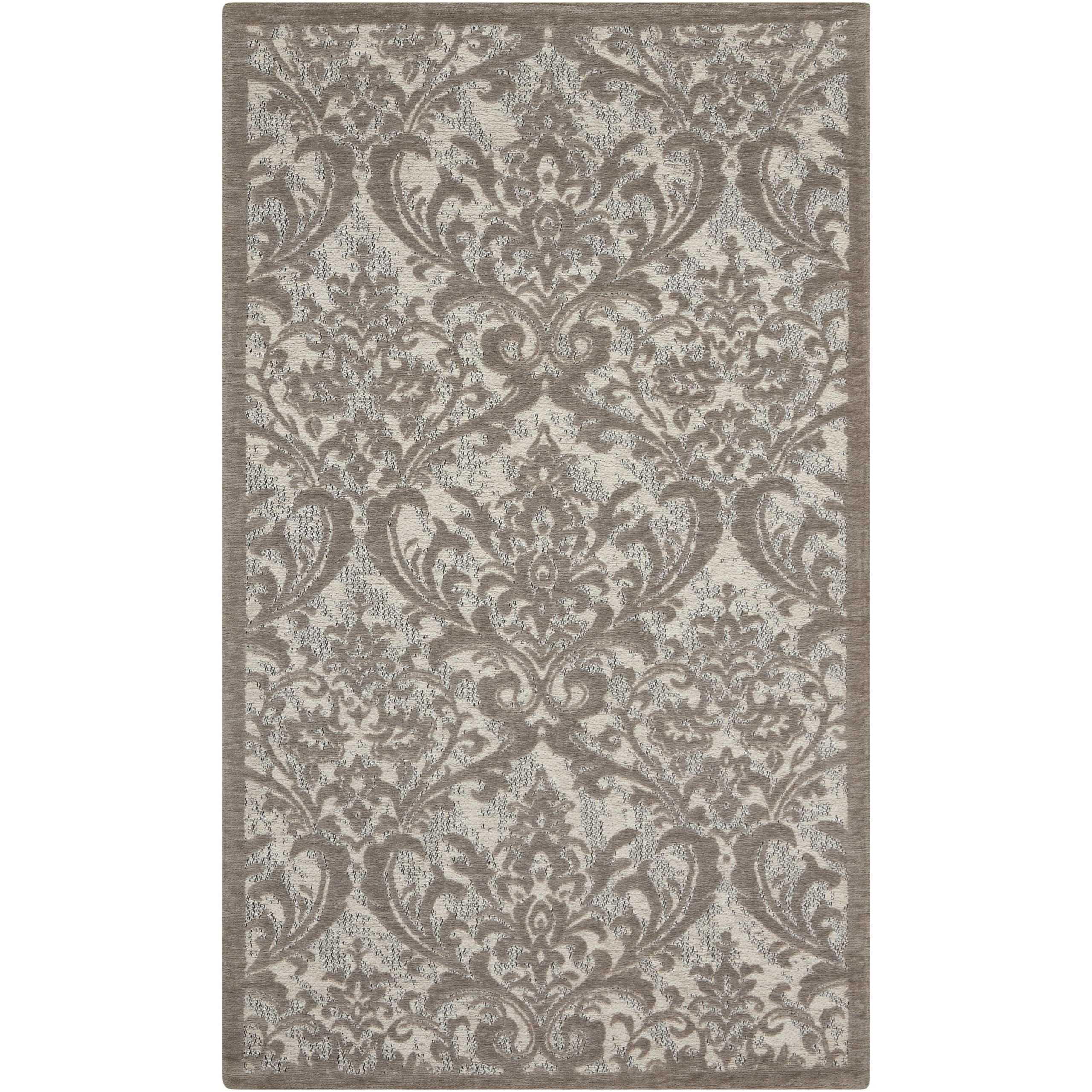 """Damask 2'3"""" X 3'9"""" Iv/Grey Rug by Nourison at Adcock Furniture"""