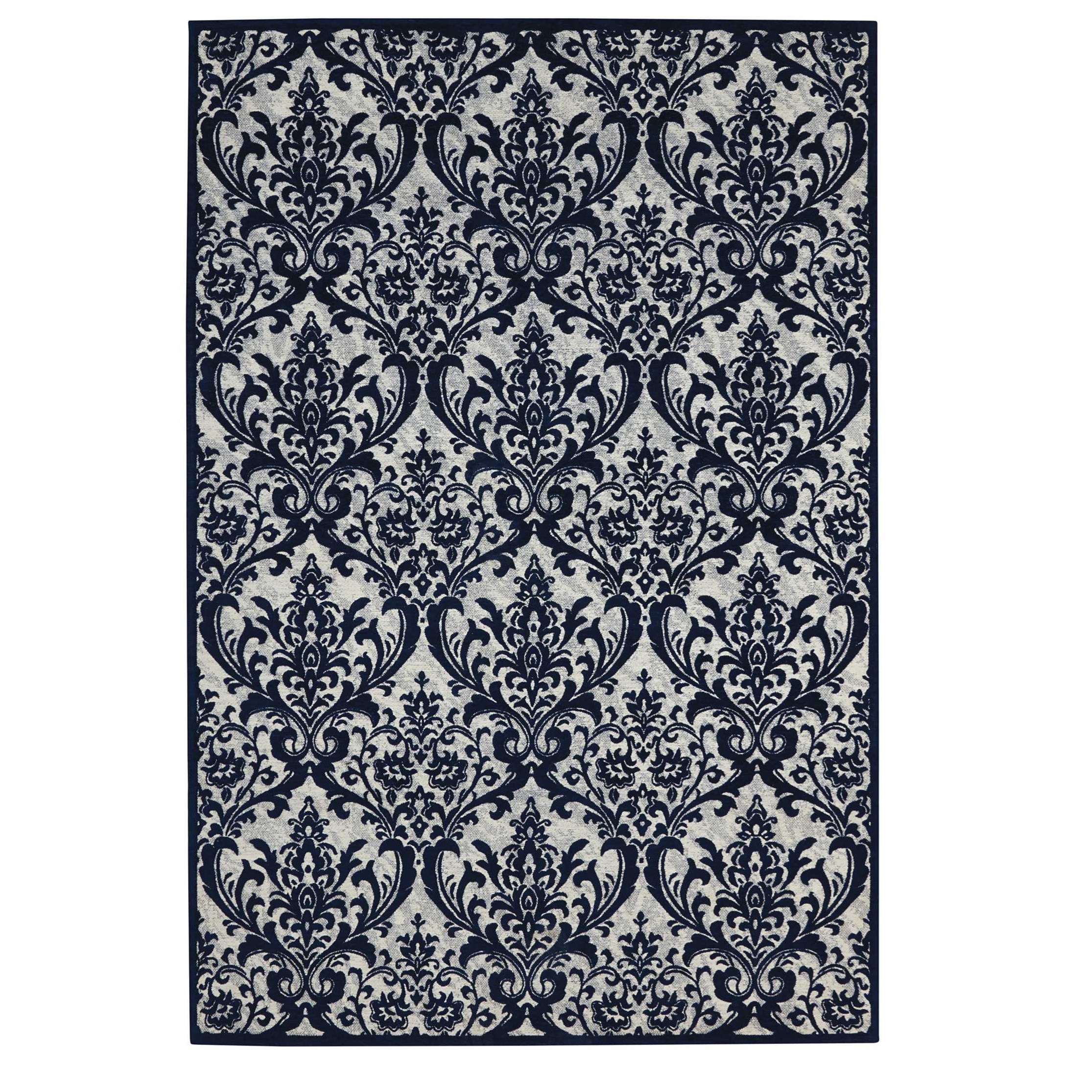 Damask 8' X 10' Ivory/Navy Rug by Nourison at Home Collections Furniture