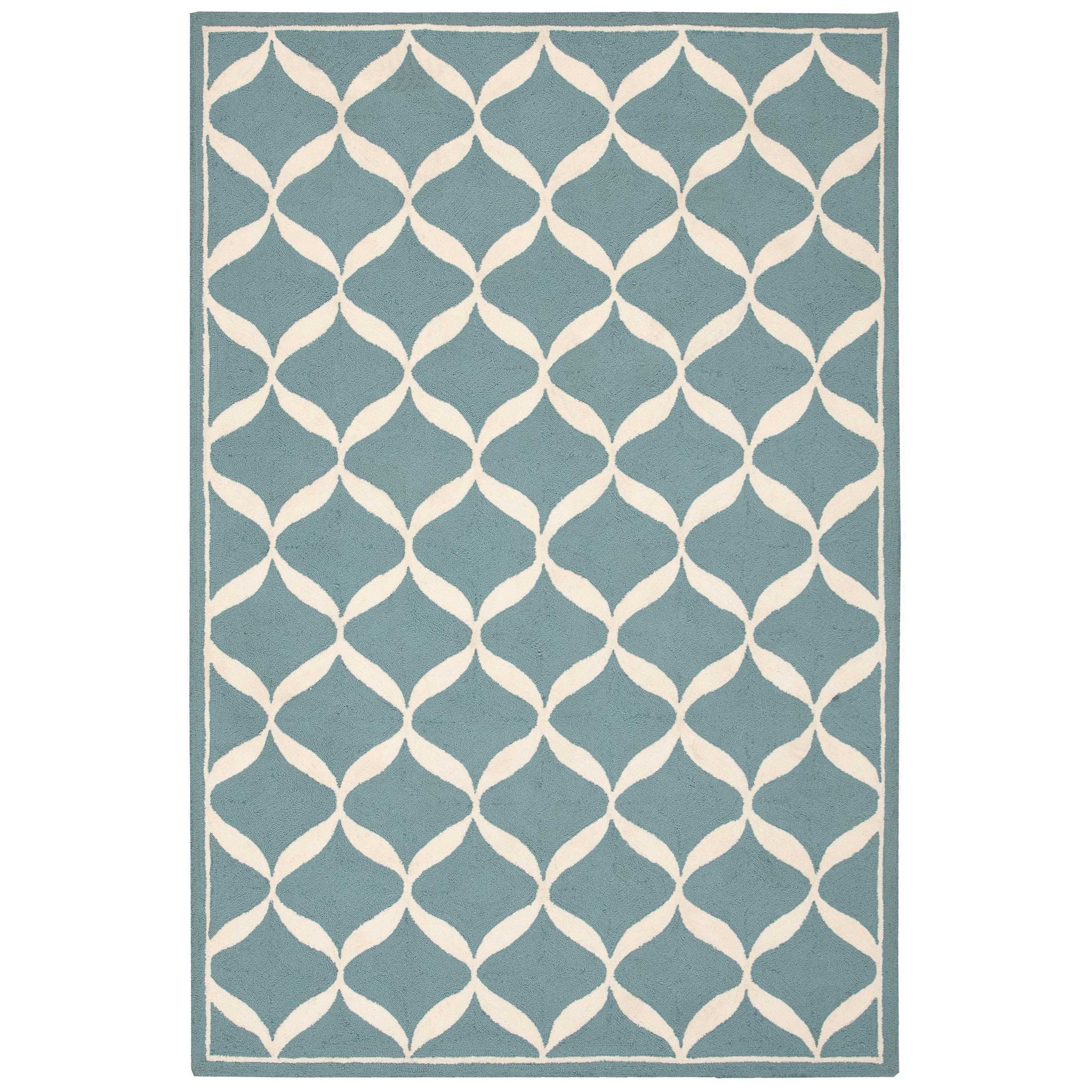 "Decor1 2'6"" X 3'10"" Aqua/White Rug by Nourison at Home Collections Furniture"