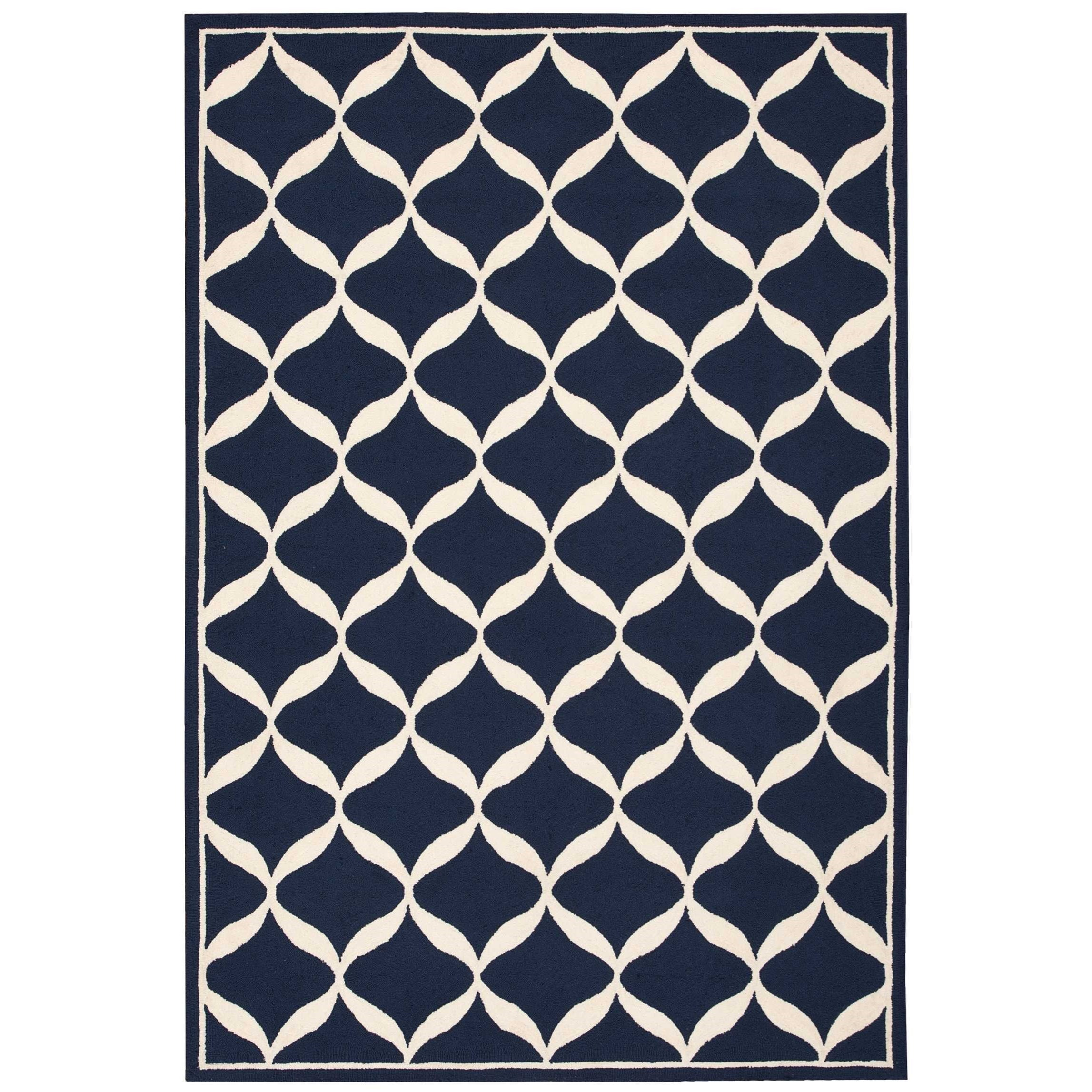 """Decor1 2'6"""" X 3'10"""" Navy/White Rug by Nourison at Home Collections Furniture"""