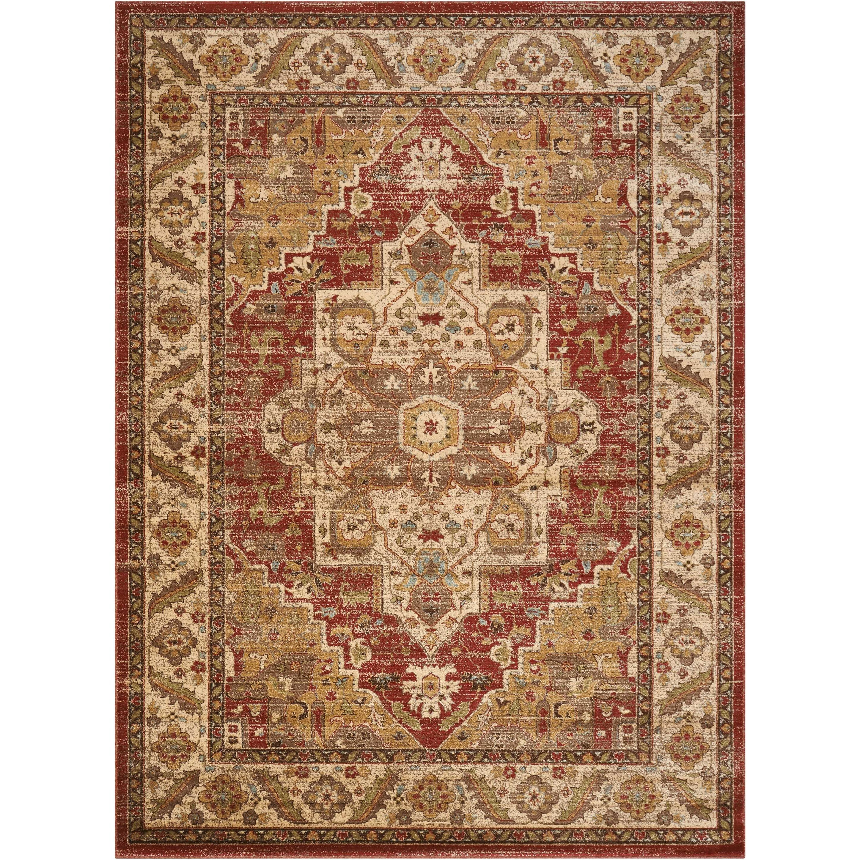 """Delano 6'7"""" X 9'6"""" Brick Rug by Nourison at Home Collections Furniture"""