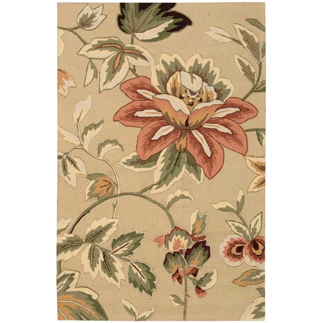 """Fantasy 3'6"""" x 5'6"""" Beige Rectangle Rug by Nourison at Home Collections Furniture"""