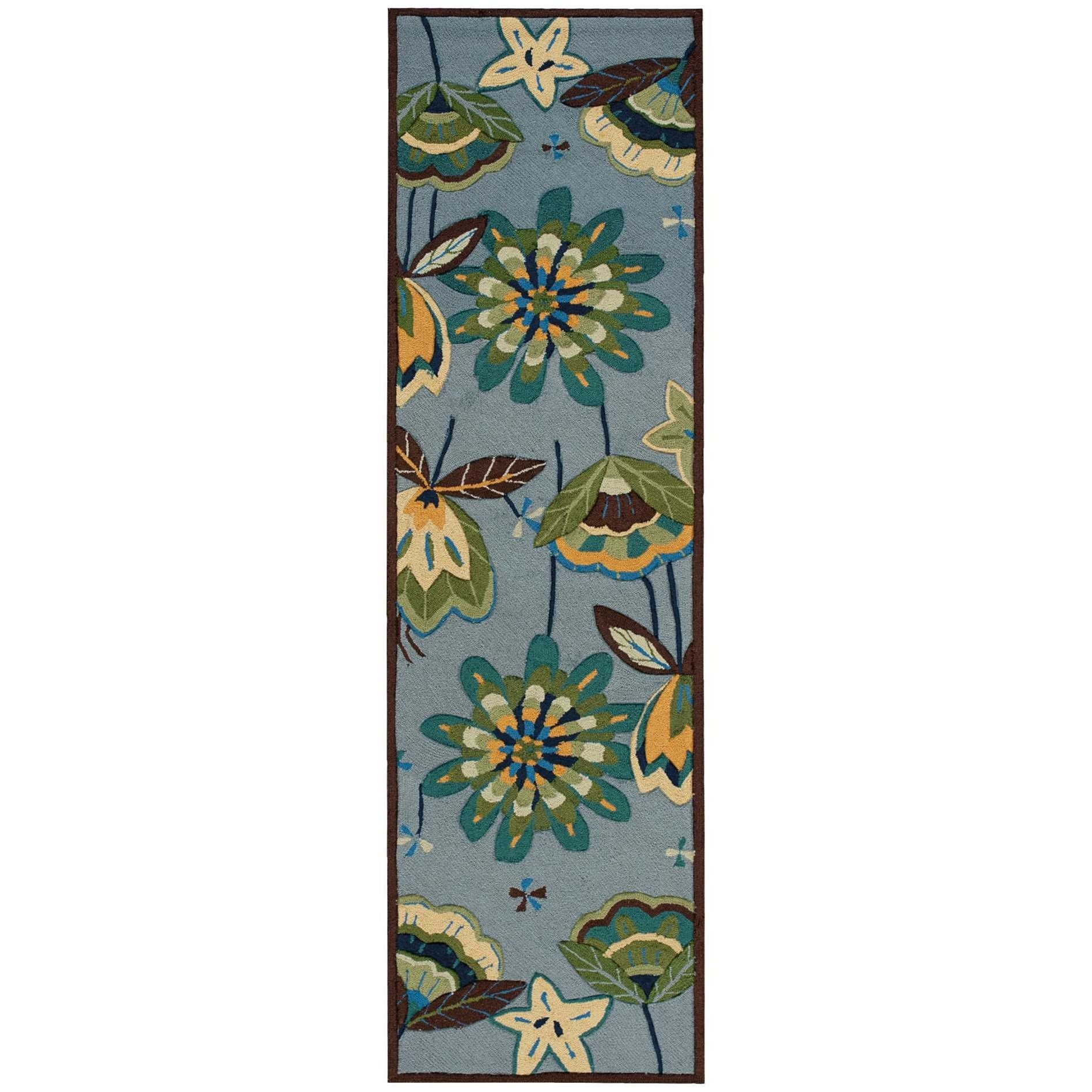 "Fantasy 2'3"" x 8' Aqua Runner Rug by Nourison at Home Collections Furniture"