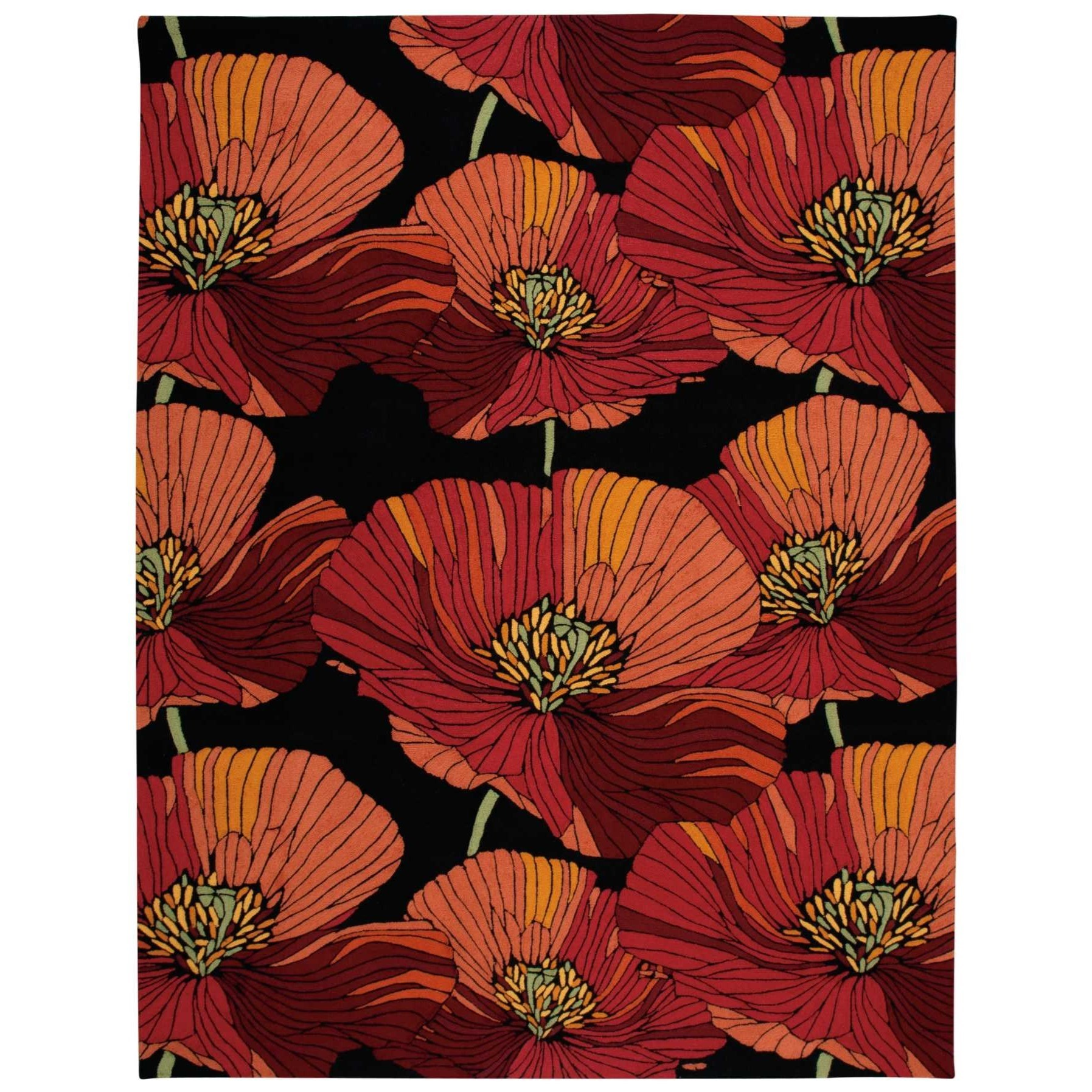 """Fantasy 8' x 10'6"""" Black Rectangle Rug by Nourison at Home Collections Furniture"""