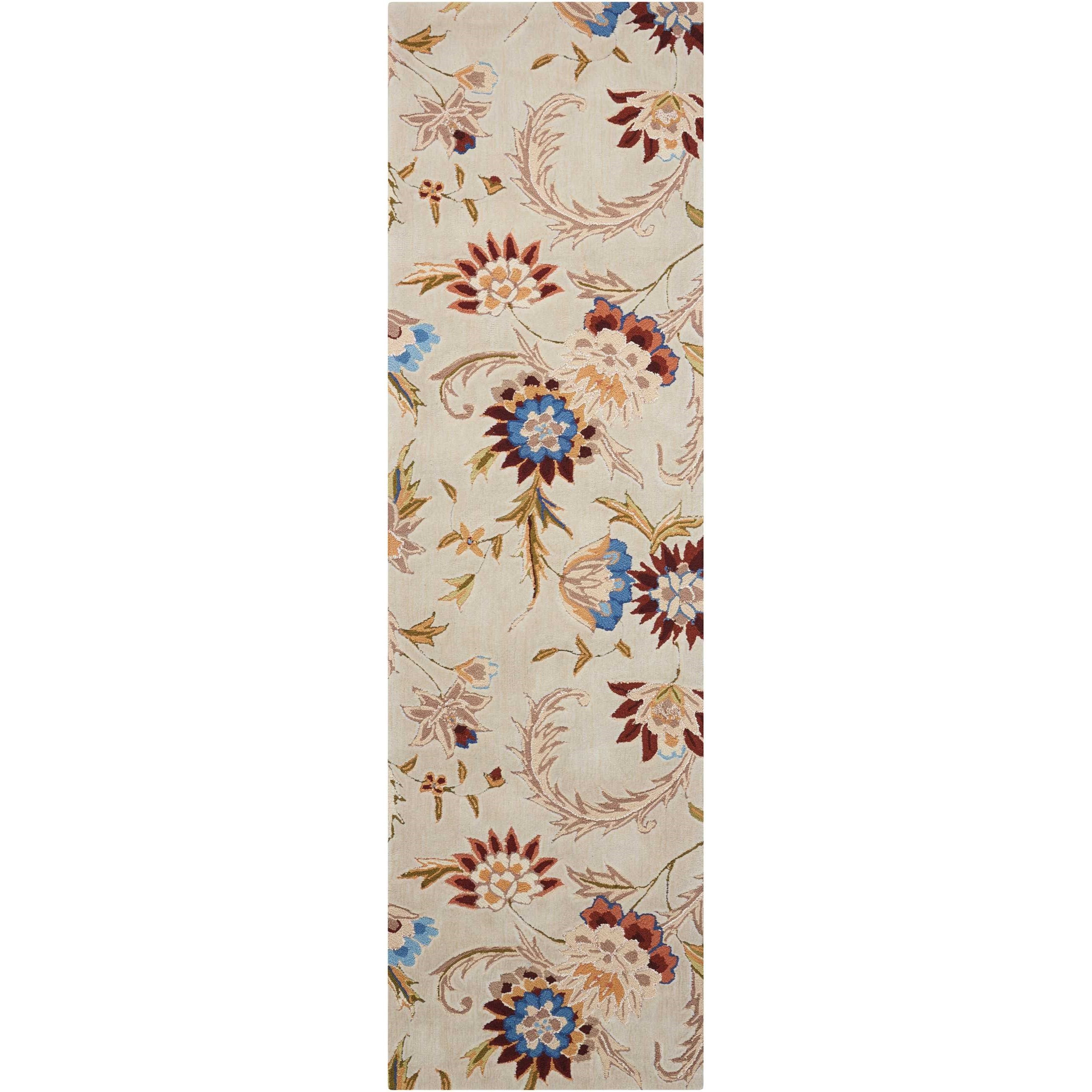 """Gatsby 2'3"""" x 8' Beige Runner Rug by Nourison at Home Collections Furniture"""