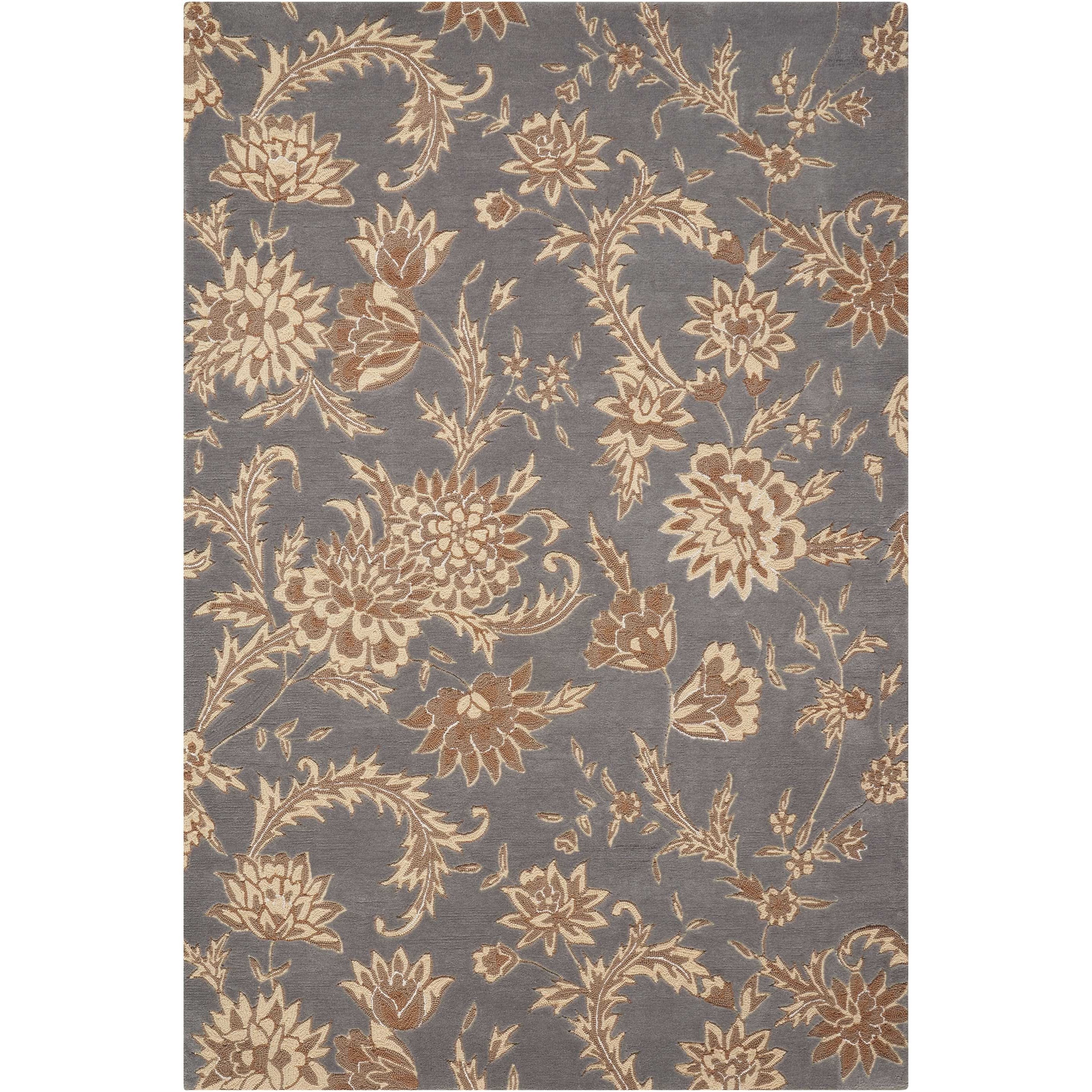 """Gatsby 3'9"""" x 5'9"""" Slate Rectangle Rug by Nourison at Home Collections Furniture"""