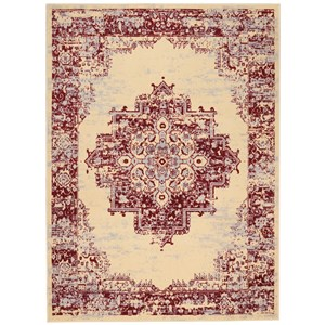 """7'10""""X9'10"""" Cream Red Rectangle Rug"""
