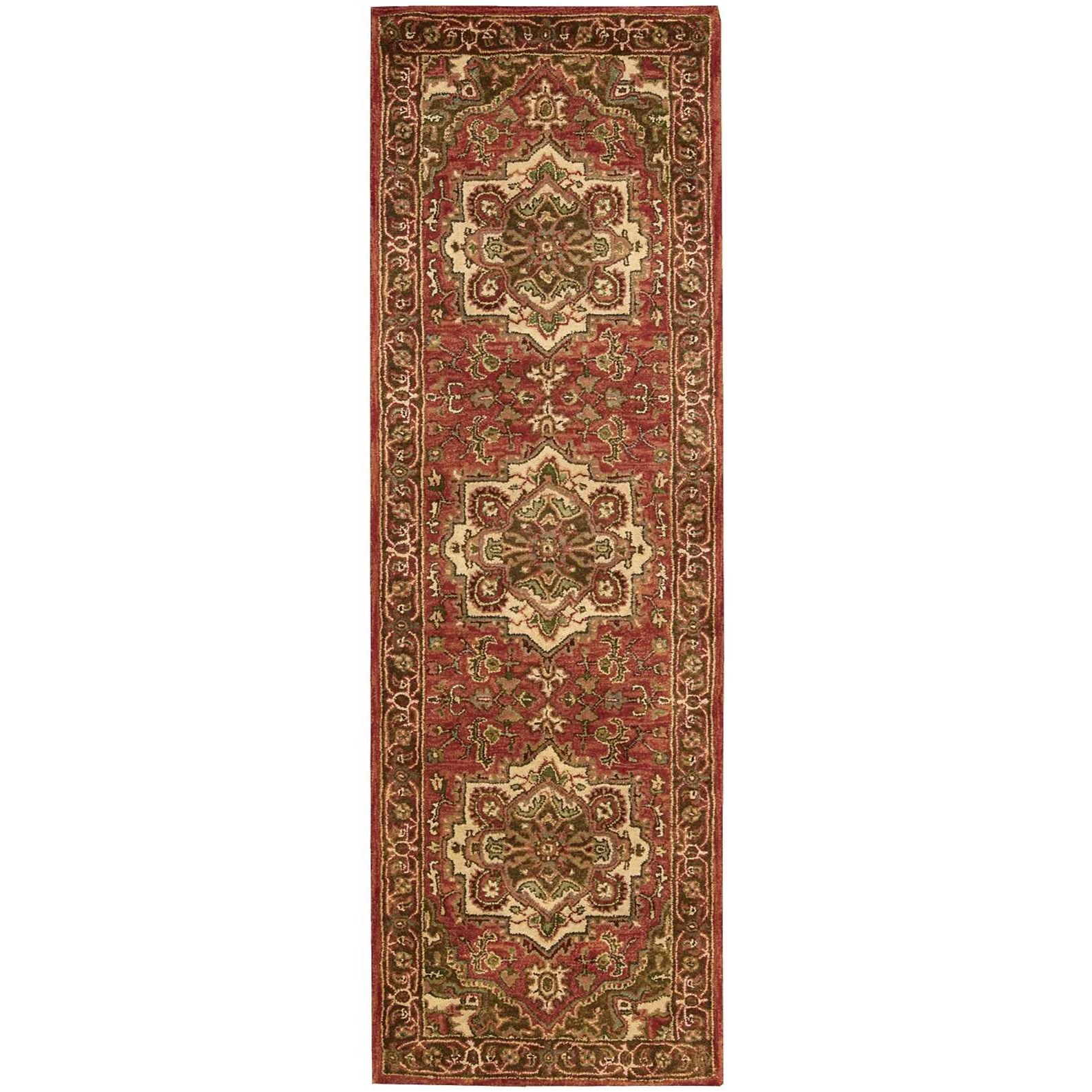 """Jaipur 2'4"""" x 8' Red Runner Rug by Nourison at Home Collections Furniture"""