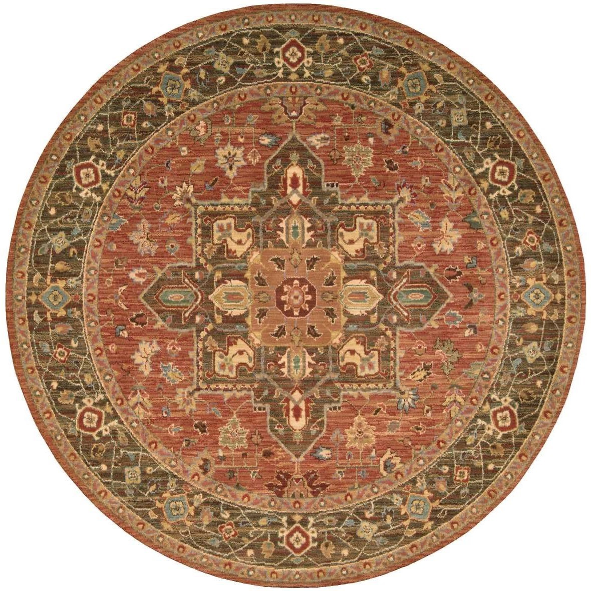 "Living Treasures 5'10"" x 5'10"" Rust Round Rug by Nourison at Sprintz Furniture"